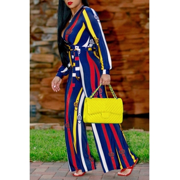 Euramerican Deep V Neck Striped Yellow Polyester One-piece Jumpsuits