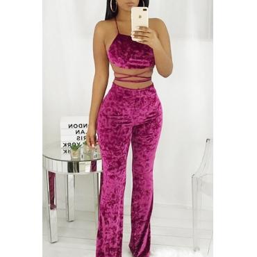 Sexy Spaghetti Strap Sleeveless Purple Velvet Two Pieces Pants Set