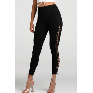 Pantalones De Terciopelo Negro Hueco Con Cordones De Cintura Alta De Moda