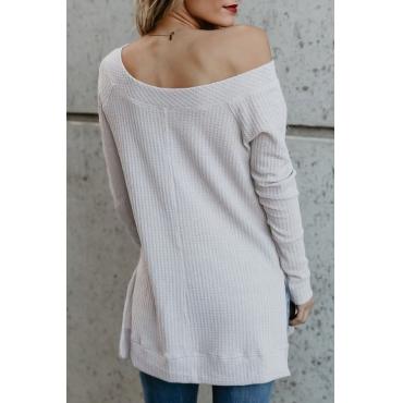 Lovely Fashionable Bateau Neck Dew Shoulder White Polyester T-shirt