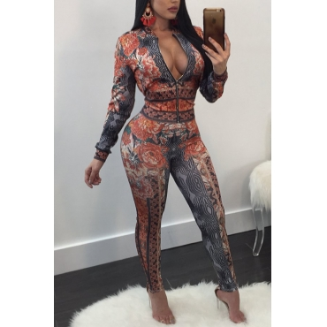 Sexy V Neck Zipper Design Printed Orange Polyester Two-piece Pants Set