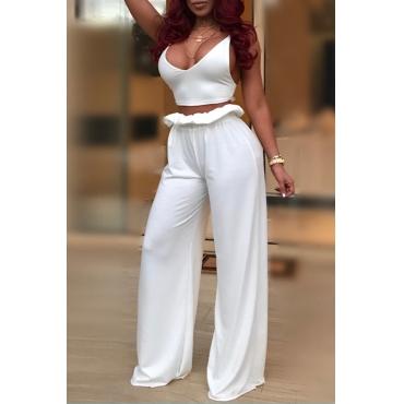 Sexy Spaghetti Strap Falbala Design White Blending Two-piece Pants Set