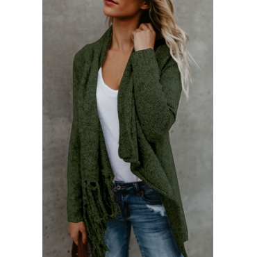 Lovely Euramerican Asymmetrical Tassel Design Green Acrylic Sweaters