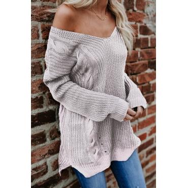Lovely Stylish V Neck Dew Shoulder Purple Acrylic Sweaters
