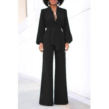Euramerican Mandarin Collar Black Spandex One-piece Jumpsuits