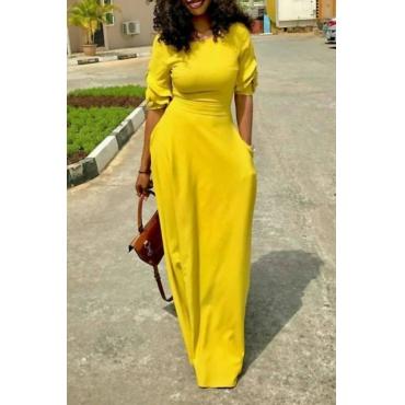 Freizeit Rundhals Tasche Design Gelb Polyester Bodenlangen Kleid
