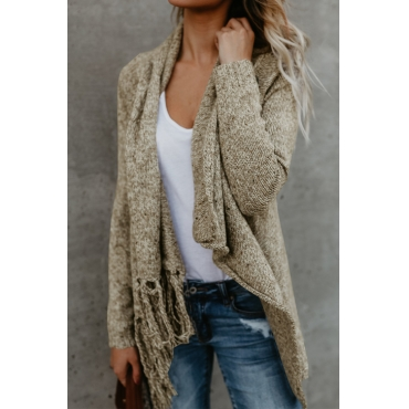 Lovely Euramerican Asymmetrical Tassel Design Khaki Acrylic Sweaters