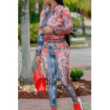 Euramerican Mandarin Collar Printed Red Polyester Two-piece Pants Set