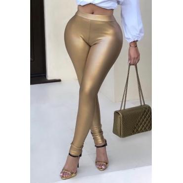 Calças Euramerican High Elastic Waist Gold Leather