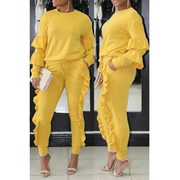 Модные Круглым Вырезом Ruched Желтый Смешивания Двух Частей Брюки Набор