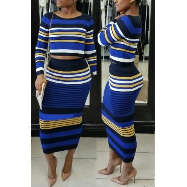 Euramerican Round Neck Striped Patchwork Blue Cotton Two-piece Skirt Set