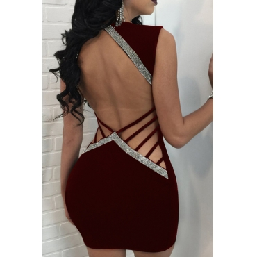 Sexy V Neck Hollow-out Wine Red Polyester Sheath Mini Dress