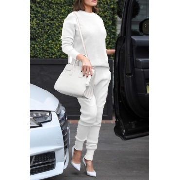 Casual Round Neck Long Sleeves Deep White Cotton Two-piece Pants Set