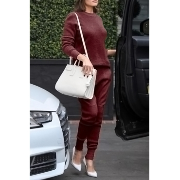 Casual Round Neck Long Sleeves Wine Red Cotton Two-piece Pants Set