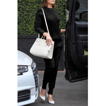 Casual Round Neck Long Sleeves Deep Black Cotton Two-piece Pants Set