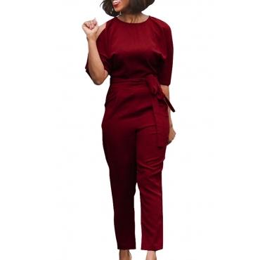 Euramerican Round Neck Dew Shoulder Wine Red Polyester One-piece Jumpsuits