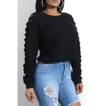 Fashionable Round Neck Hollow-out Black Spandex Hoodies