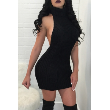 Sexy Turtleneck Backless Black Knitting Mini Dress