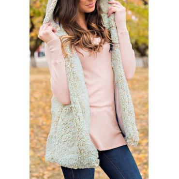 Lovely Fashionable Hooded Collar Beige Velvet Long Waistcoats
