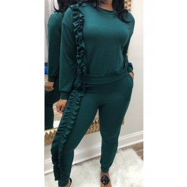 Casual Round Neck Ruffle Design Green Blending Two-piece Pants Set