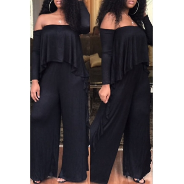 Casual Strapless Fold Design Black Polyester One-piece Jumpsuits