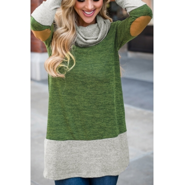Lovely Leisure Long Sleeves Patchwork Green Polyester Hoodies
