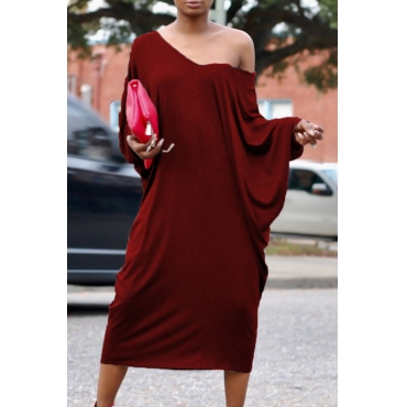 Casual V Neck Hollow-out Wine Red Polyester Mid Calf Dress