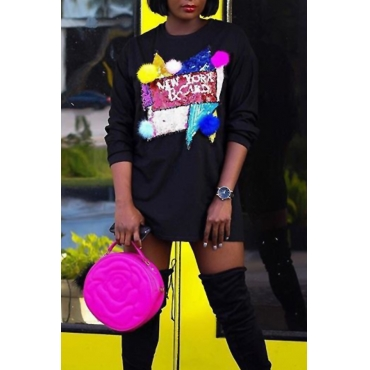 Leisure Round Neck Patchwork Black Polyester Mini Dress