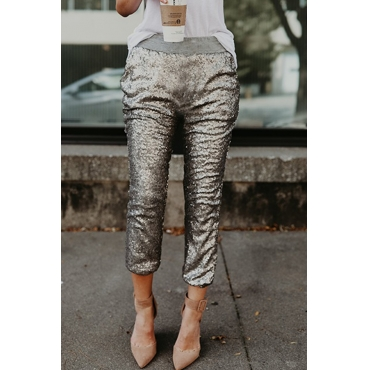 Lovely Fashionable Mid Waist Rose Silver Polyester Pants