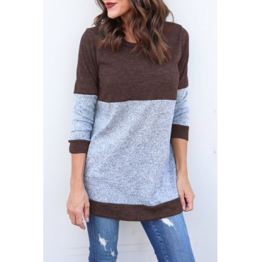 Lovely Fashionable Round Neck Patchwork Brown Polyester T-shirt