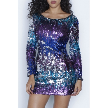 Sexy Boat Neck Backless Gradient Sequins Polyester Mini Dress