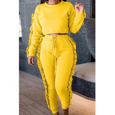 Euramerican Round Neck Ruffle Design Yellow Polyester Two-piece Pants Set