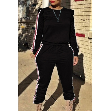 Casual Round Neck Striped Black Blending Two-piece Pants Set
