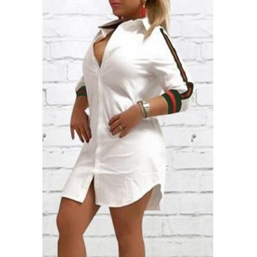 Fashionable Turndown Collar Striped White Polyester Mini Dress