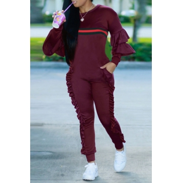 Leisure Round Neck Ruffles Patchwork Purplish Red Polyester One-piece Jumpsuits