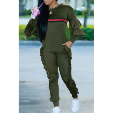 Leisure Round Neck Ruffles Patchwork Army Green Polyester One-piece Jumpsuits