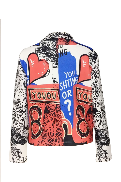 Schicker Umlegekragen Mit Langen Ärmeln Bedruckter Polyester-Reißverschluss-Mantel