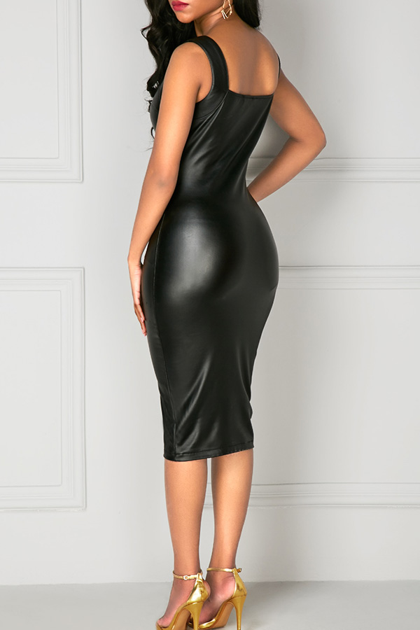 Sexy Square Neck Reißverschluss Design Schwarz PU Knielanges Kleid