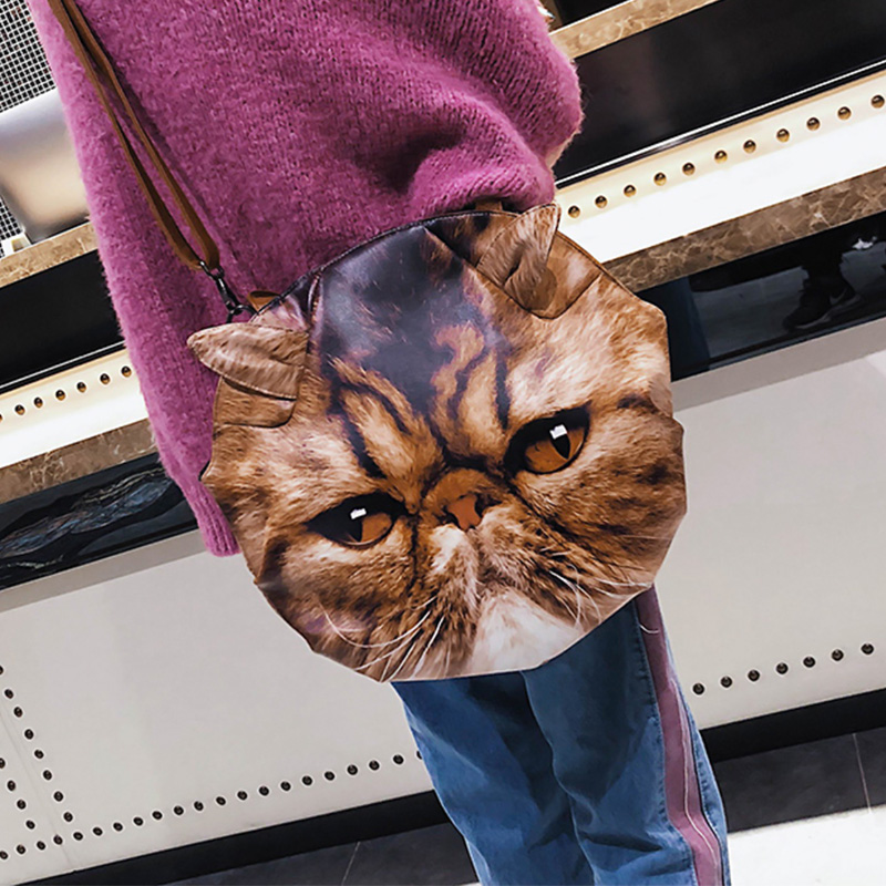 Fashion Cat Head Printed Brown PU Crossbody Bag