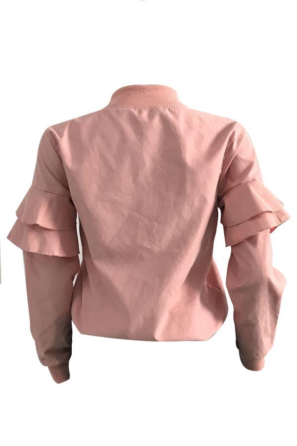 Ocio Cuello Redondo Falbala Diseño Terciopelo Rosa Cremallera Escudo