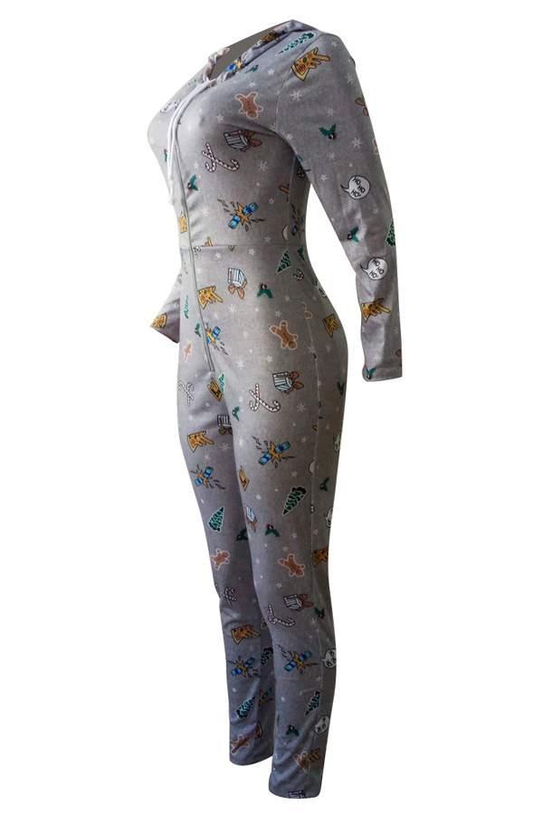 Euramerican Hooded Collar Christmas Printed Grey Polyester One-piece Jumpsuits