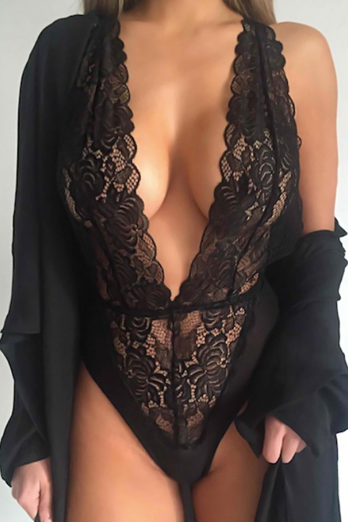 Sexy Halter Neck See-Through Black Lace Teddies