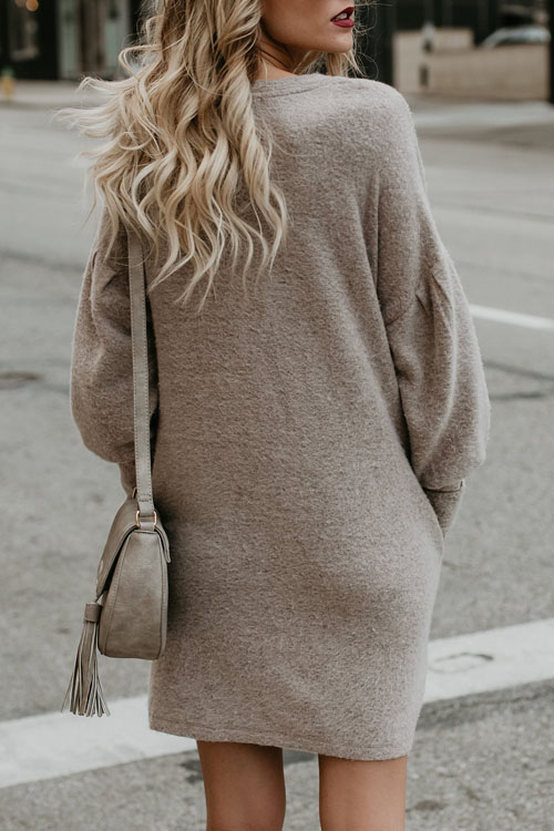 Lovely Casual Round Neck Long Sleeves Beige Polyester Knee Length Dress