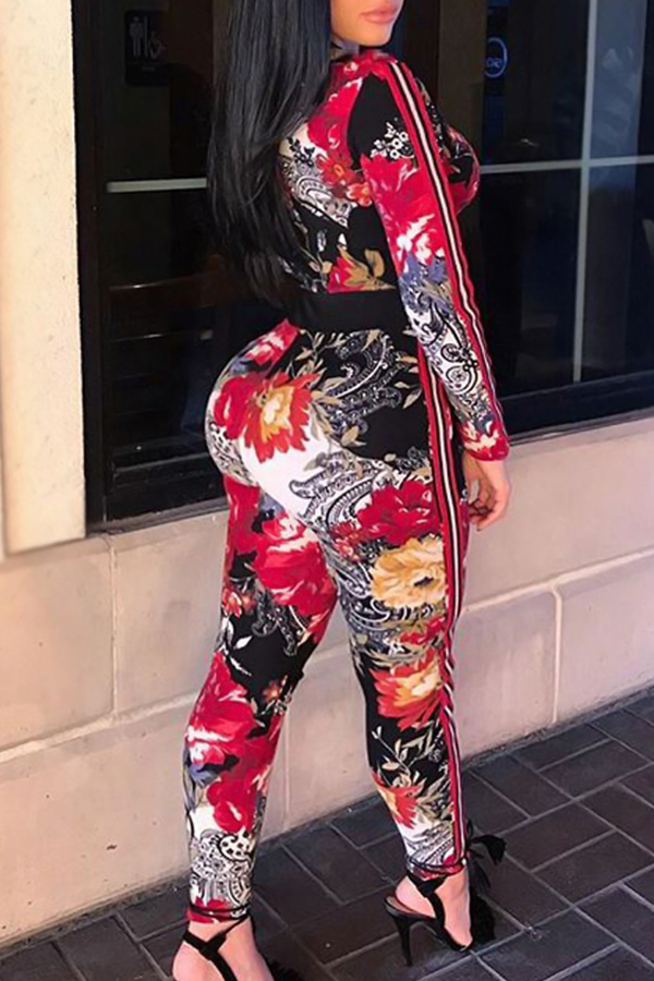 Sexy V Neck Floral Printed Red Polyester One-piece Jumpsuits