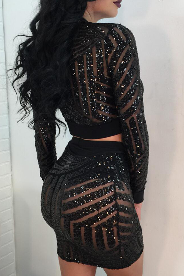 Sexy Mandarin Collar Sequins Design Black Polyester Two-piece Skirt Set