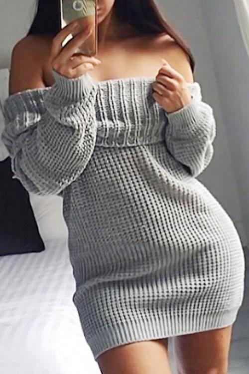 Sexy Bateau Neck Long Sleeves Grey Cotton Blend Mini Dress