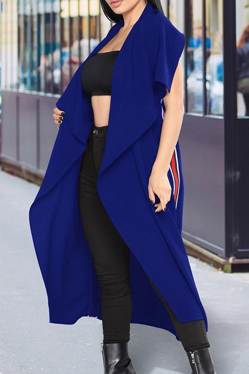 Euramerican Turndown Collar Irregular Design Blue Polyester Long Waistcoats