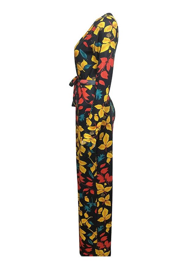 Stilvolle Tiefe V-Ausschnitt Floral Bedruckte Qmilch Einteilige Overalls