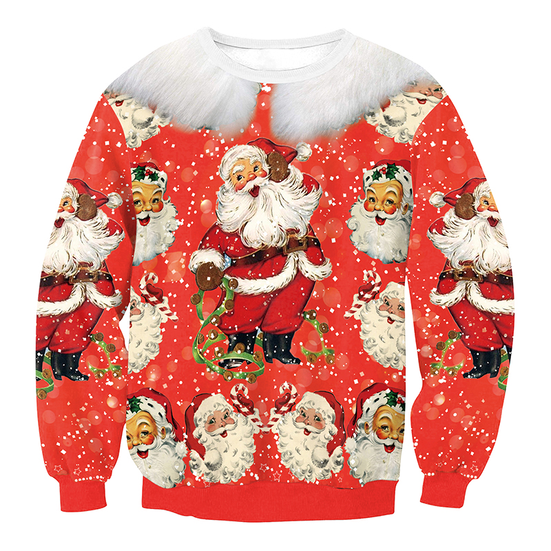 Euramerican Round Neck Father Christmas Print Red ...