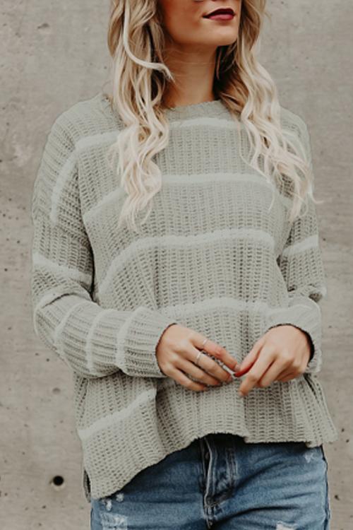 Lovely Fashionable Round Neck Striped Grey Acrylic